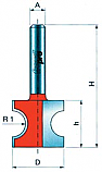 Μαχαιράκια Router για ημιστρόγγυλα κορδόνια 22.2